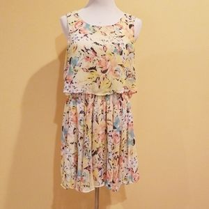 Charlotte Russe Floral Pastel Yellow Dress Large